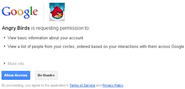 Google+ Games: Request Permission Window