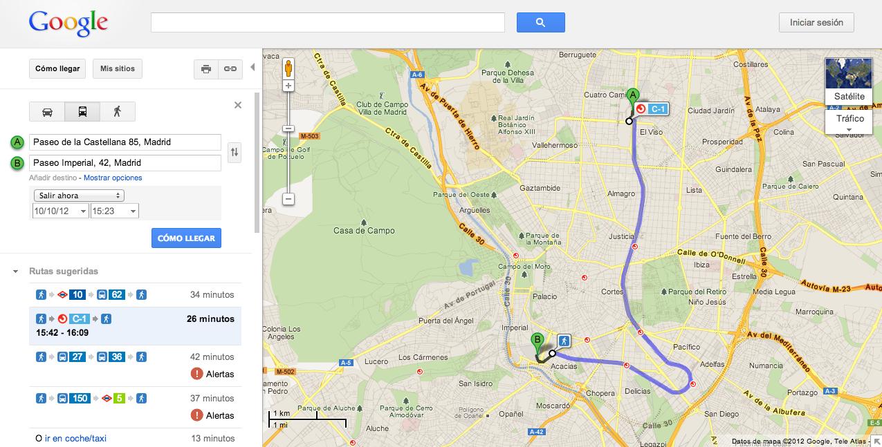 Blog oficial de google espa a renfe se suma a transit en - Paseo imperial madrid ...