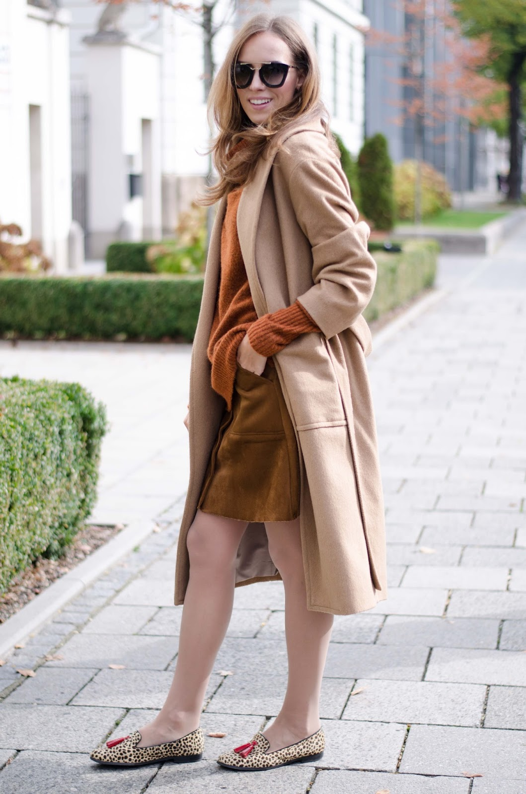 kristjaana mere camel coat suede skirt fall fashion outfit