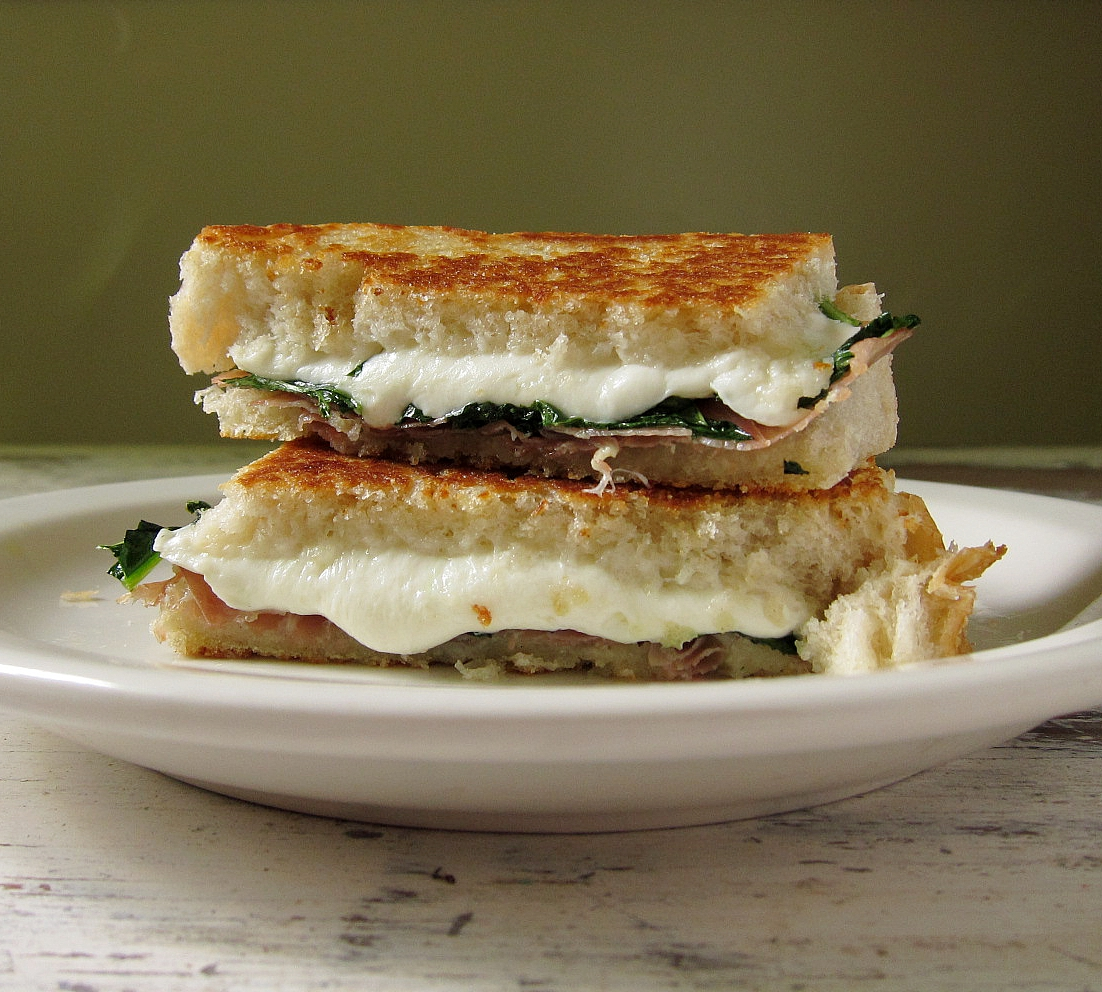 last call for corn: grilled cheese with mozzarella, kale, and ...