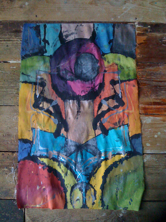 "Final Destination (You Are Here)Abstract Raw Silk Painting 27"" X 18"" (13/11/2010"