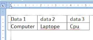menjadikan text menjadi tabel