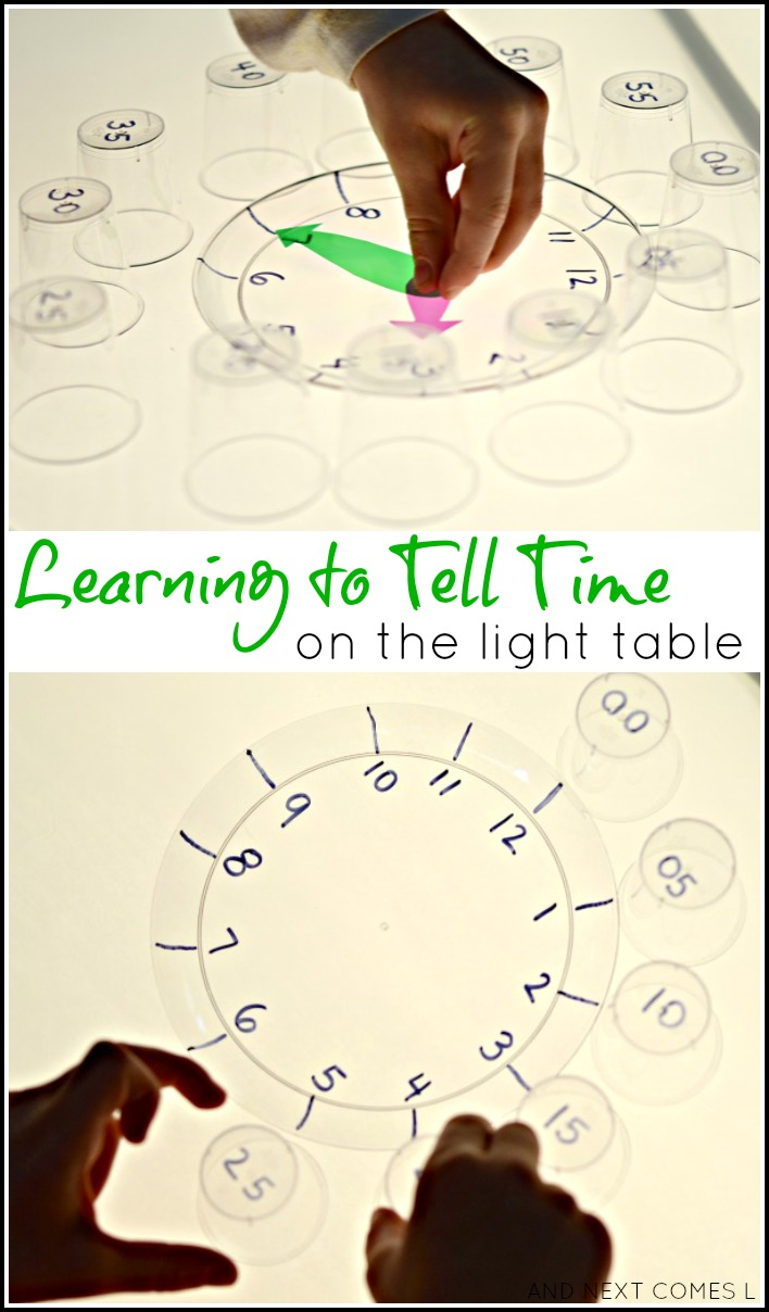 Teach kids how to tell time with this simple light table activity from And Next Comes L