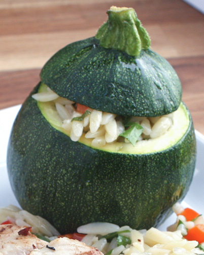Lemon Butter Orzo Stuffed Zucchini - an awesome summer side dish! by Barefeet In The Kitchen