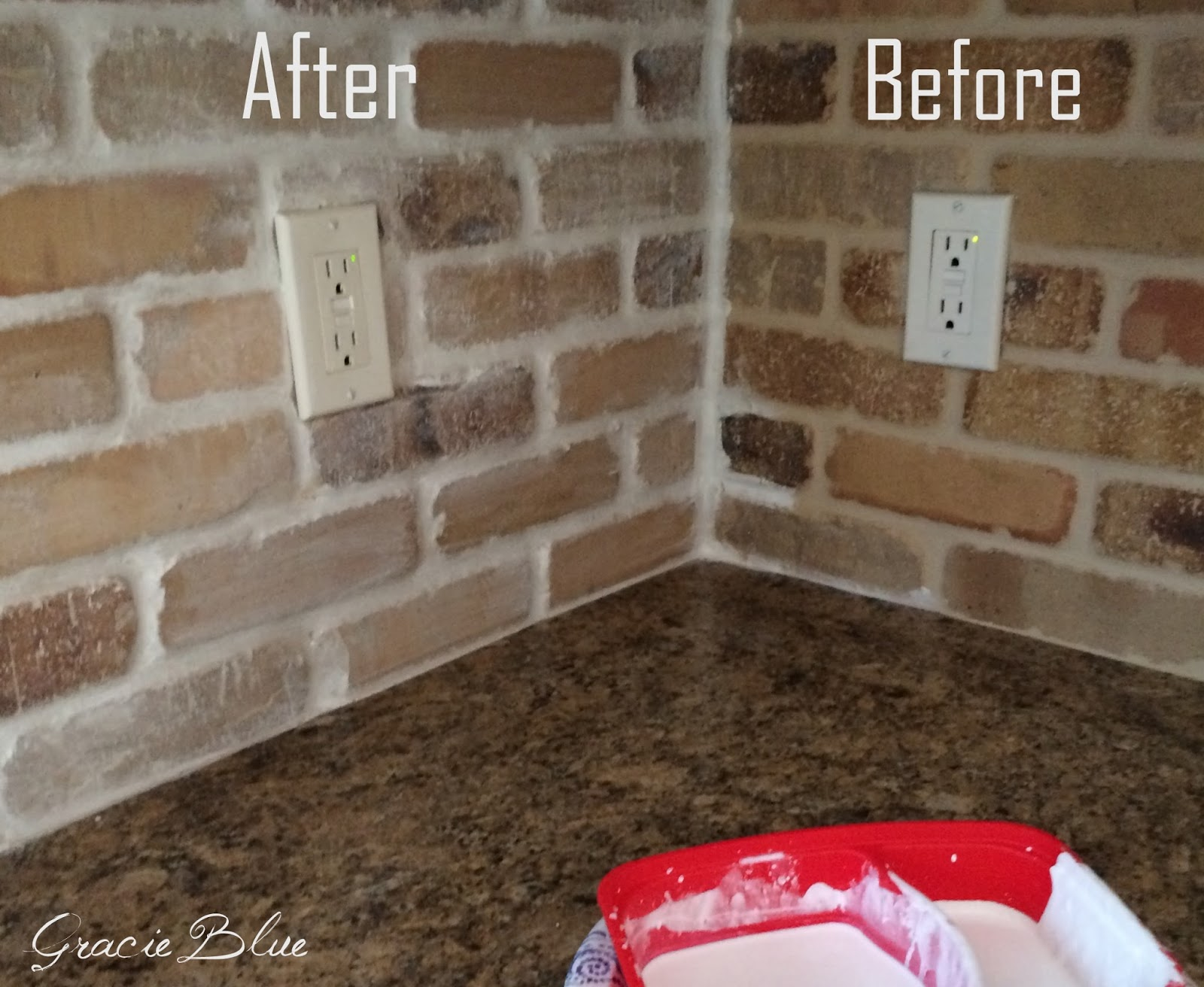 Diy Whitewashed Brick Backsplash