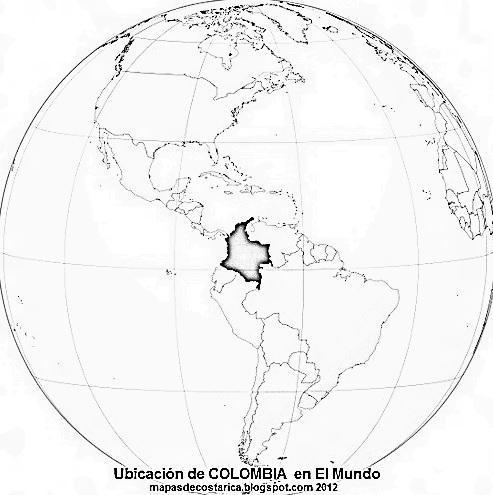 Ubicación de COLOMBIA en El Mundo, blanco y negro