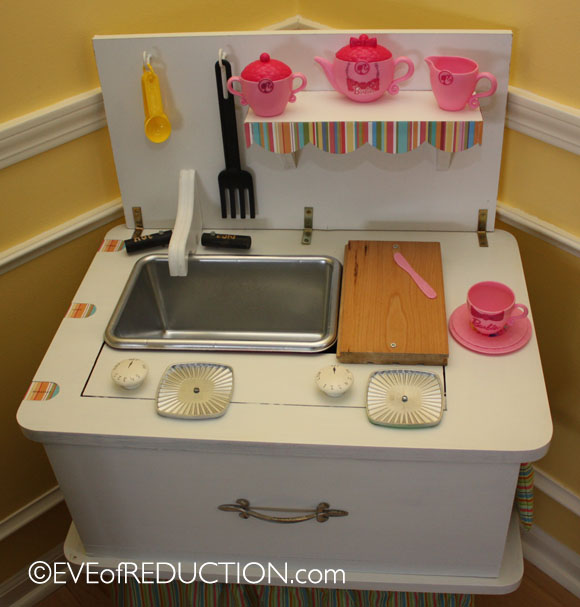 Tv Cabinet Made Into Play Kitchen: Upcycling: Sewing Cabinet Repurposed Into A Child's Play