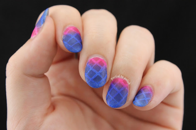 Sheer Magenta to Blue Gradient Topped White Lattice