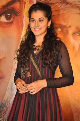 Tapsee looking gorgeous and sexy at sahasam success meet