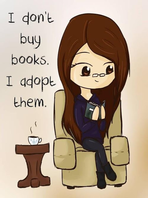 illustration says I don't buy books I adopt them