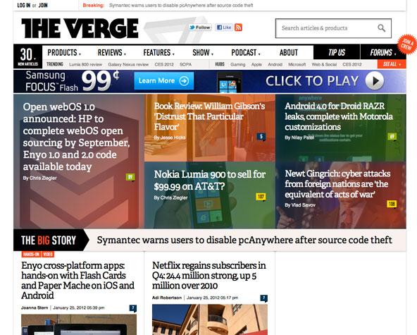 TheVerge Metro UI design