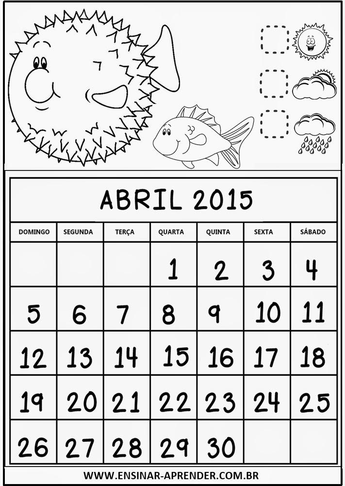 CALENDÁRIO 2015 TEMA FUNDO DO MAR