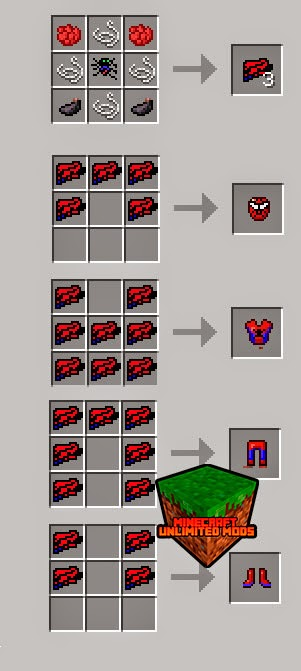 SpiderMan Mod craftings