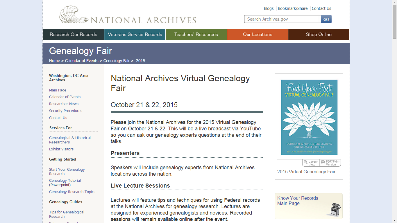 Tuesday's Tip: Attend, Online, the National Archives Virtual Genealogy Fair on October 21-22