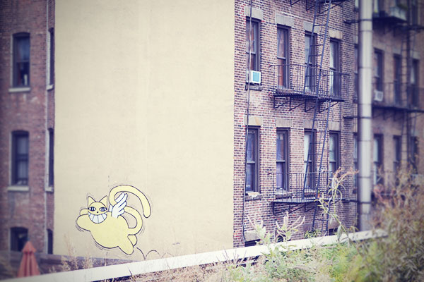 New York Streetart Katze High Line Oktober 2013