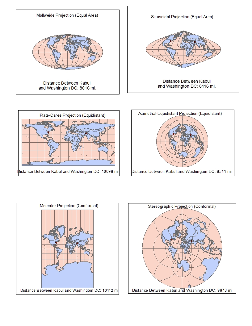 this week i created six different map projections of the earth using esri s arcgis the purpose of this exercise was to explore how different map