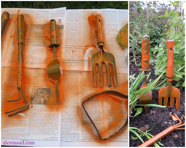 покраска, садовый инструмент, заметнее, полезные советы, сад, огород, грабли, лопатки, тяпочки, плоскорезы, корнедеры, аленин сад