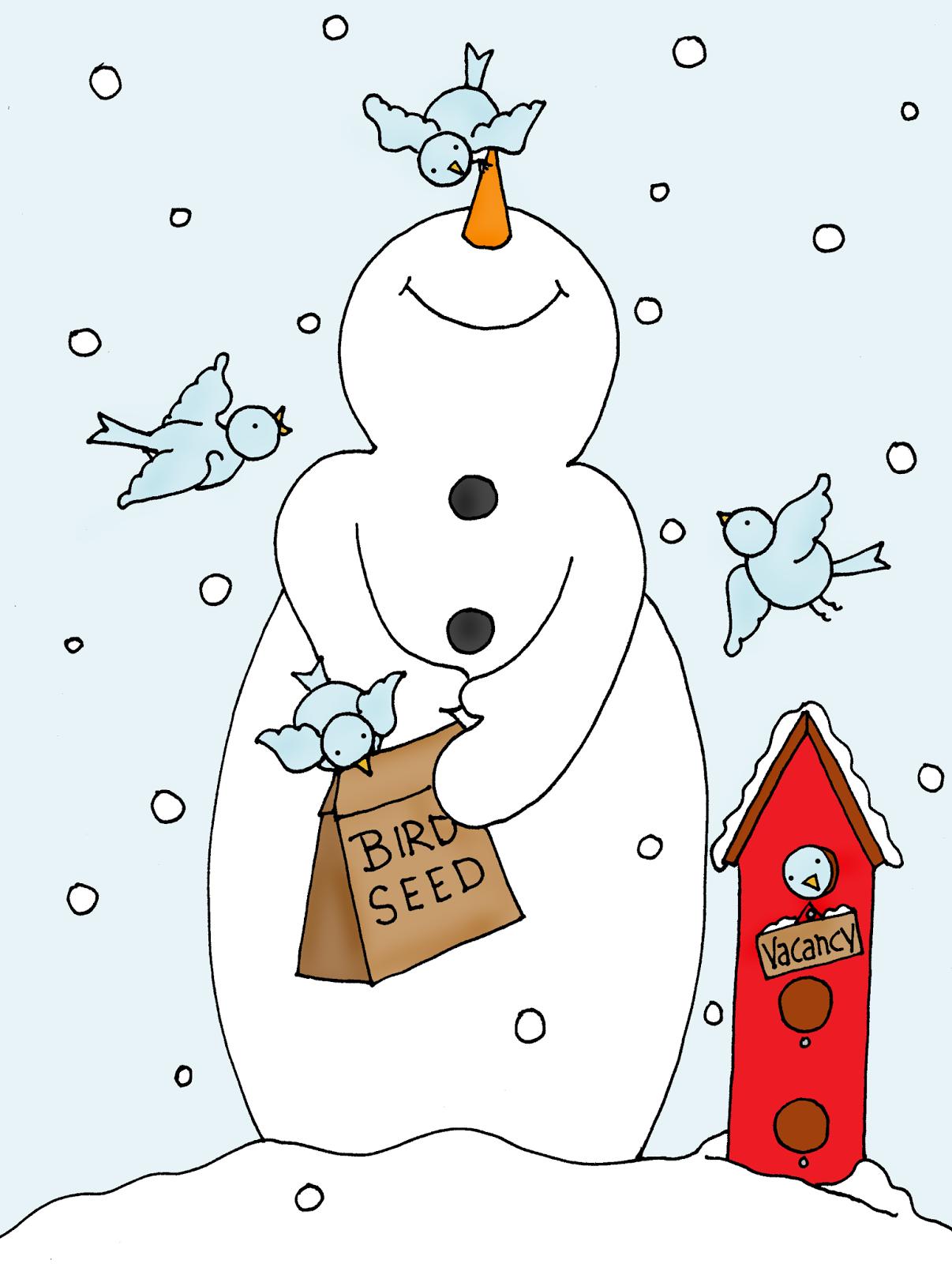 Free Dearie Dolls Digi Stamps Snowman Birdie Feeder