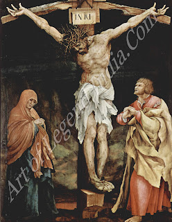 This panel was originally painted on the back with a picture of Christ Carrying the Cross, but it was sawn apart in the 19th century so both images could be displayed. In his last representation of the Crucifixion, Grunewald has made the figure of Christ even more huge and dominating.
