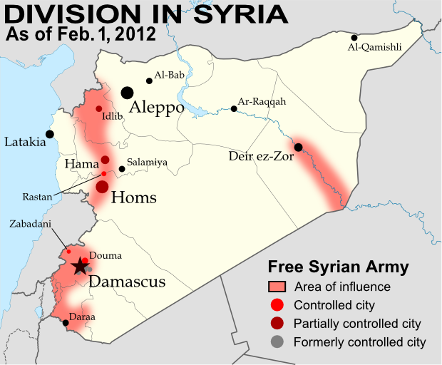 Syria divided by armed conflict feb 2012 political for Syria war template