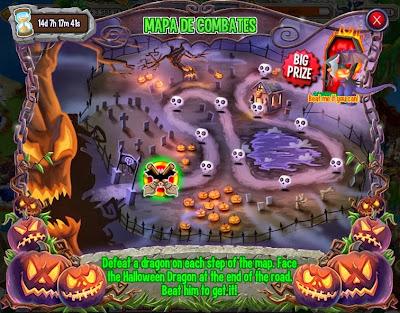 imagen del mapa de combates de la isla de halloween de dragon city