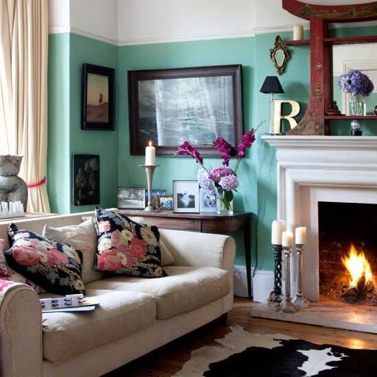 living eclectic victorian walls aqua farrow arsenic ball paint modern decorating decor wall tour teal colors villa interior turquoise rooms