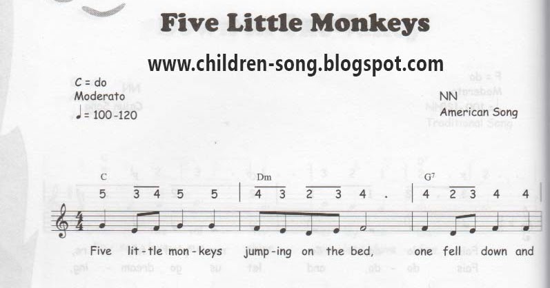 Five Little Monkey Notes And Chords