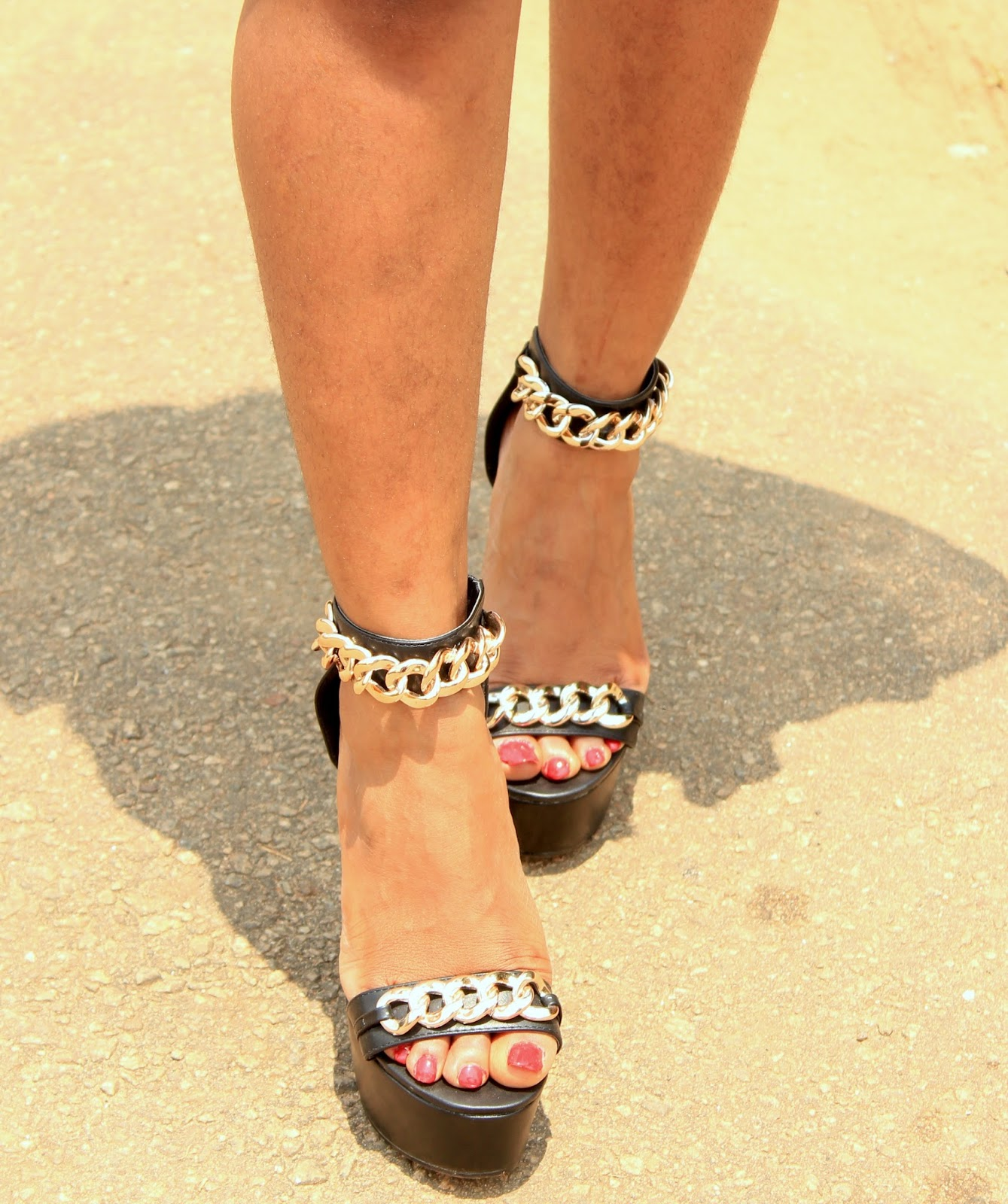 Chain detail platform heels from Boohoo