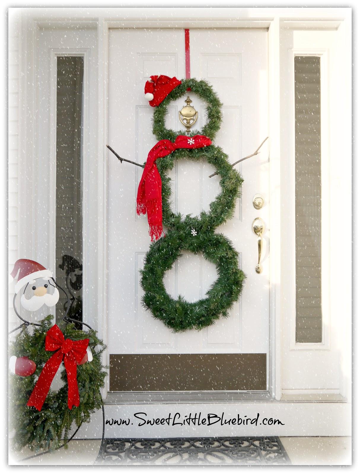 Diy snowman wreath sweet little bluebird - Decoracion de navidad para oficina ...