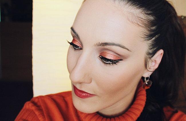 "Fierce Orange makeup tutorial by Jelena Zivanovic: Orange eyes & lips. Orange makeup tutorial. Narandzasta sminka. Calvin Klein ""Delicious Luxury Creme Lipstick"" (Orange Too #112). Makeup tutorial by Jelena Zivanovic."