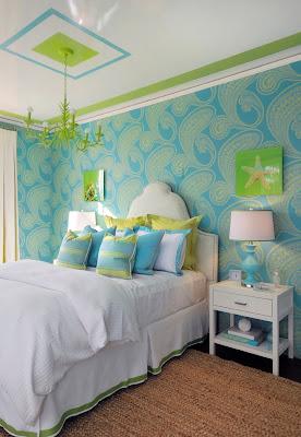 habitación detalles verdes y turquesas