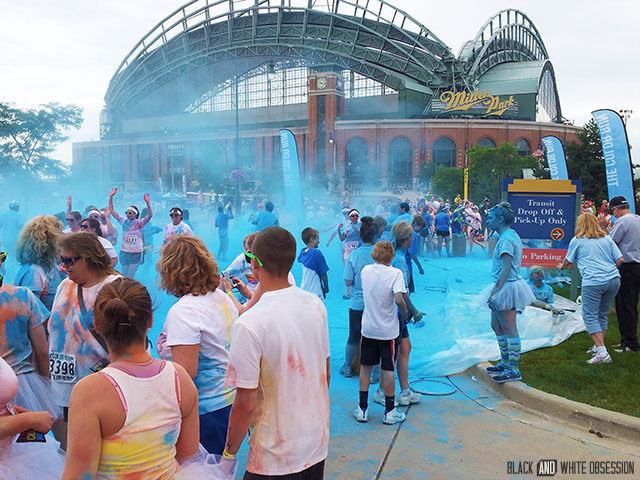 Blue powder cloud outside the Brewers Stadium | June Giveaway: Passes to The Color Run Milwaukee July 6th 2014 click through for your chance to #win | www.blackandwhiteobsession.com #giveaway #thecolorrun #Happiest5K