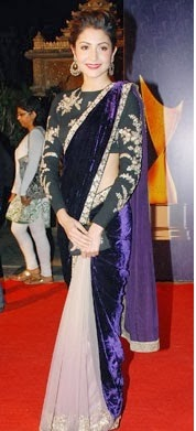 BOLLYWOOD ACTRESS ANUSHKA SHARMA VELVET SAREE