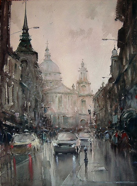Dusan Djukaric amazing  watercolor painting