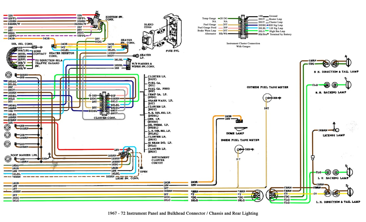 free auto wiring diagram: 1967-1972 chevrolet truck instrument panel and bulkhead connector 1972 chevy starter wiring diagram