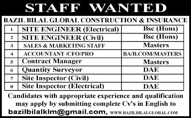 Engineering & DAE Jobs in Bazil Bilal Construction & Insurance Company UAE