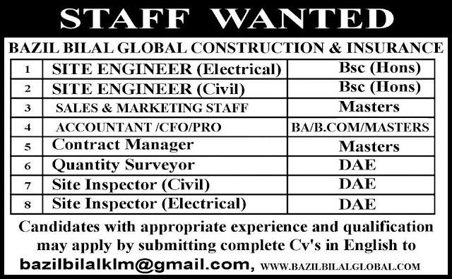 Engineering & DAE Jobs in Bazil Bilal Construction & Insurance Company UAE
