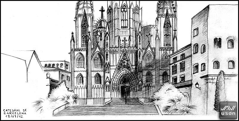 de vuelta con el cuaderno Dibujando en Barcelona II Catedral gtica