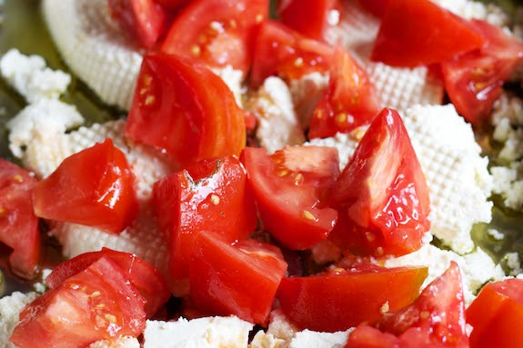 exPress-o: Baked ricotta with tomato and olives