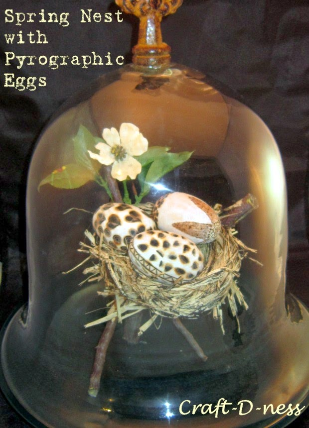 Bell Jar with Pyrography Eggs in Raffia Nest