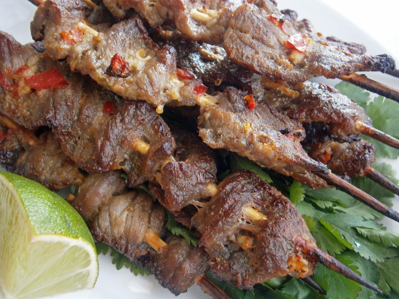 Indonesian beef satays - beef + coconut milk + garlic + red chilli ...