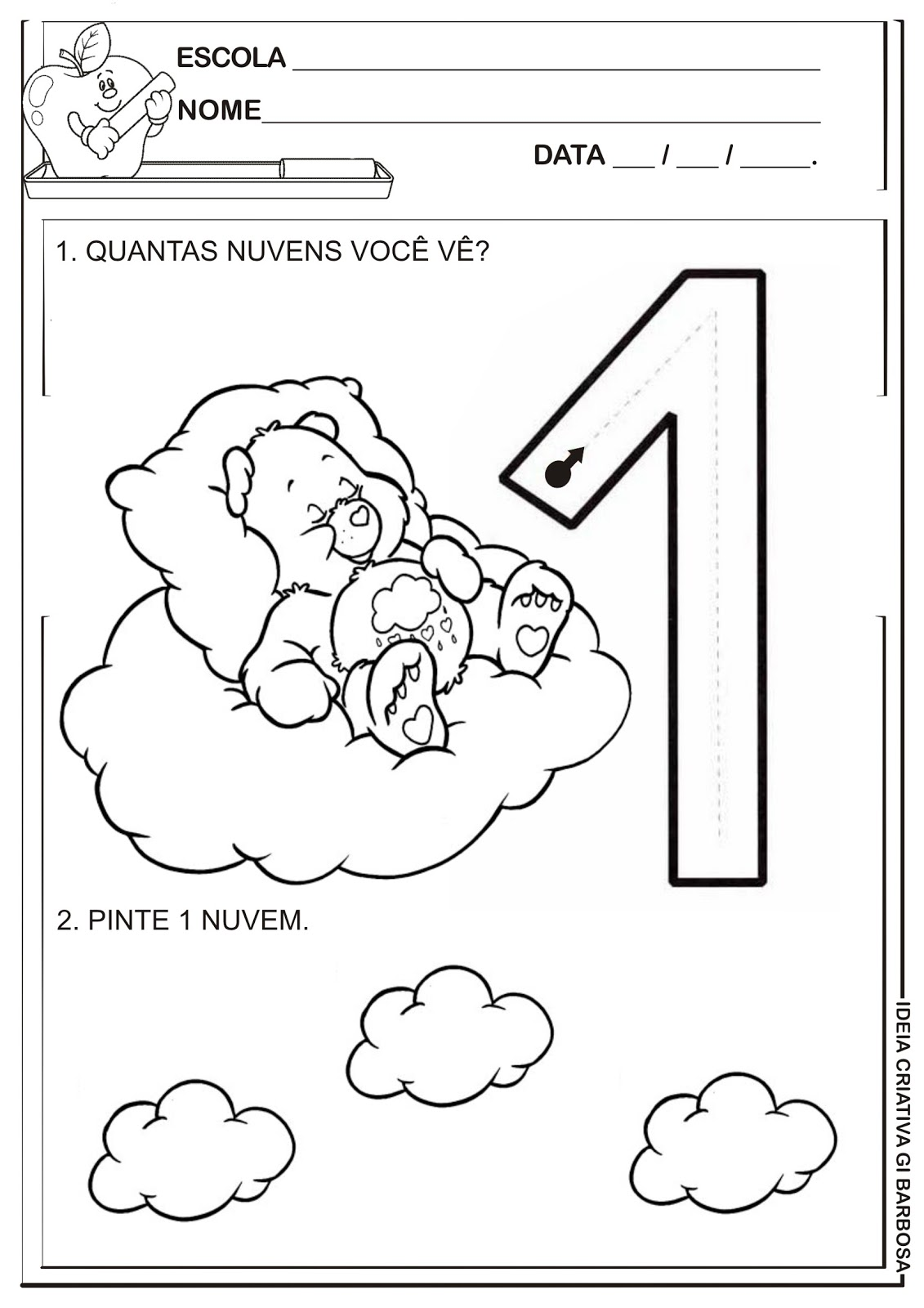 Vamos Contornar O Numeral   O Dedinho E Pintar 1 Nuvem