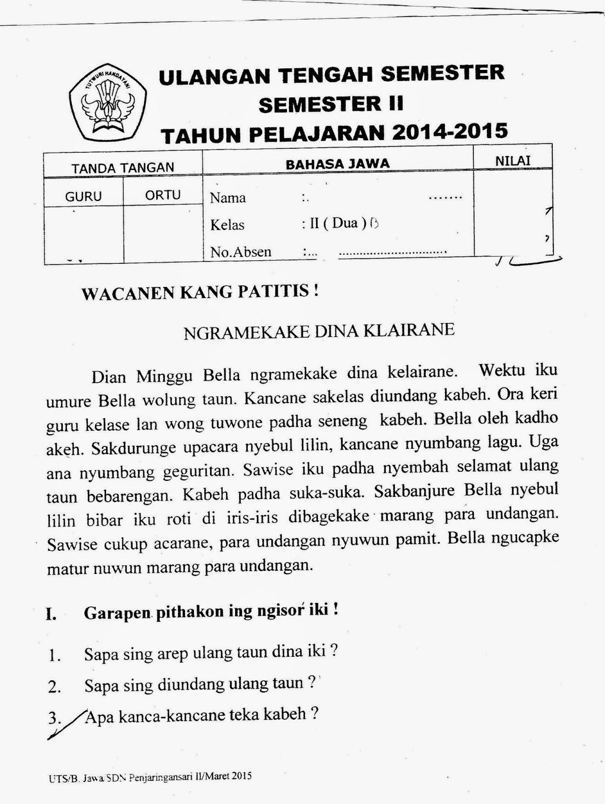 Uts Bhs Jawa Kelas 2 Sd Semester Genap Ta 2014 2015 Kurikulum 2013 Sunarto S Kom