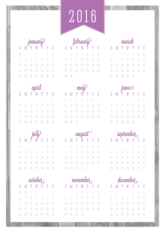 2016 free printable calendars Lolly Jane – Printable Calendars