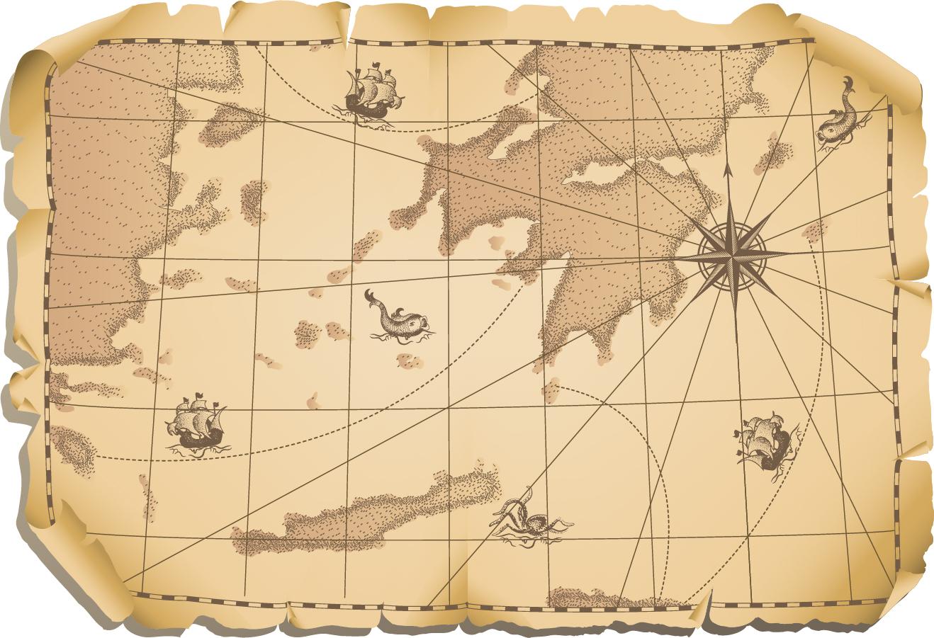 古い世界地図のクリップアート Old maps kraft paper イラスト素材