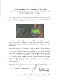 Mensaje de apoyo a José Ramón, despedido por Setex Aparki en Jerez de la Frontera, emitido por la U