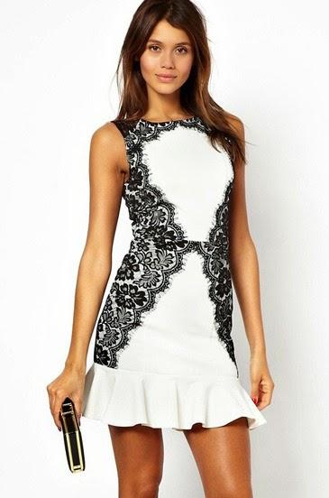 Vestido blanco y negro para invitada boda