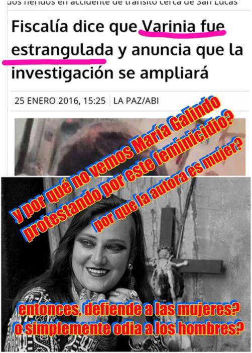 Polemizan la poca presencia de Maria Galindo en el caso de asesinato de Varinia Buitrago