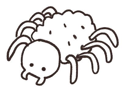 蜘蛛のイラスト(虫) モノクロ線画