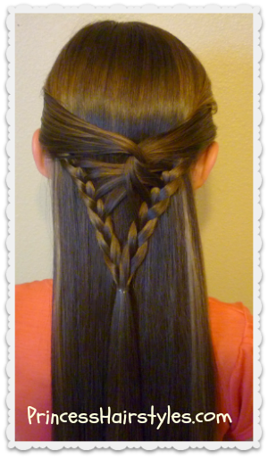 arrowhead braid tutorial, half up hairstyle